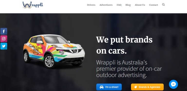Wrappli - an Australian website for car wrapping (image from Wrappli.com.au)